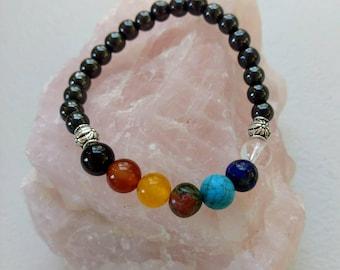 Chakra Balancing Bracelet/Grounding/Hematite/Garnet/Red Agate/Yellow Jade/Unakite/Turquoise Howlite/Lapis Lazuli/Clear Quartz