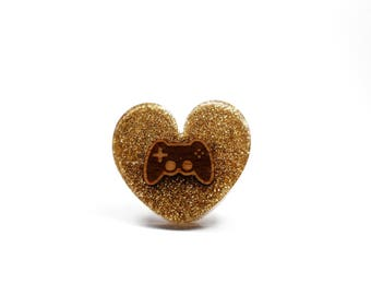 Ring Nerd geek kawaii gamer wooden video game console controller