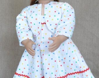 "Polka Dot Party Dress for 18"" dolls including American Girl."