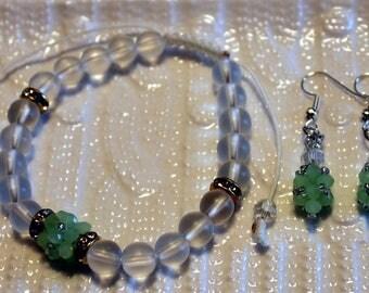 Beautiful Crystal beaded bracelet & earrings-set; shamballa, green, clear, handmade, beadweaving, cute, casual-wear, party-wear