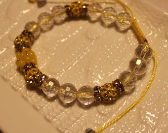 Cute Crystal & Czech crystal disco-ball Rhinestone-beaded bracelet; handmade, shamballa, beadweaving, clear, yellow, beautiful