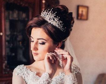 Crystal tiara Wedding crown Bridal tiara Silver hair accessory Bridal crown Wedding tiara Rhinestones jewelry Crystal crown