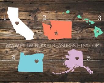State Decal / California, Washington, Hawaii, Oregon, Alaska Sticker / Custom Color, Size / Heart, Star City, Home Decal