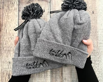 Faith Can Move Mountains Beanie Hat - Bobble Hat - Faith Gifts - Beanie Hat - Christian Gifts - Izzy and Pop - Matthew 17:20