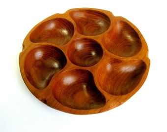 Vintage Carved Wood Serving Platter / Snack & Nuts Plate / Hand Carved / Teak / Wood / Serving Tray / Snack Bowl / Divided Dish / 7 Sections