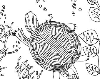 Turtles I Coloring Page Adult Instant Download Printable Activities For Kids Hand Drawn PDF