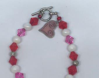 Valentine's Bracelet   Red, White, Pink   Heart Jewelry   Valentine Jewelry   Valentine's Day Gift   Valentines Day   Beaded Bracelet