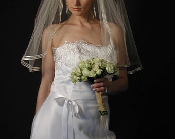 "30"" Elbow Veil with 3 Rows of 1/8"" Satin Ribbon Edge"
