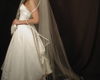 "90"" Angel Cut/Waterfall Cut Chapel Veil with Folded 3/8"" Satin Ribbon Edge"