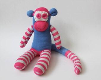 Monday the Sock Monkey | Handmade, Socks, Comforter, Monkey Toy, Mascot, Hand Sewn, Stripy socks, Pink Monkey, Monkey Teddy, Tights,