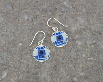 R2D2 Earrings - Star Wars Earrings - Sterling Silver Earrings - Handmade Polymer Clay Earrings by LittleMillieShop