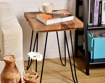 Old Elm Wood Square Hairpin End Table, Rustic Side Table, HW950 902A