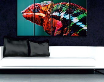 Chameleon Canvas Print Wall Art Multi Panel Chameleon Wall Decor Chameleon Print Chameleon Poster Wall Art Chameleon Art Reptile Canvas Art