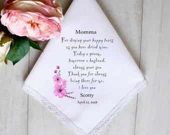 Wedding Handkerchief, Mother of the Groom Handkerchief, Mother of the Groom Gift, Wedding Gifts ,something blue, Wedding Hankie #2
