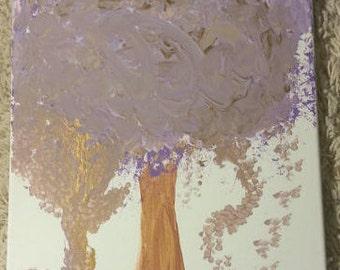 Purple Tree 14x11 Acrylic painting