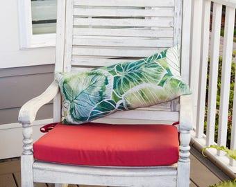 Bolster Leaf Outdoor Pillow, Green, Outdoor Pillow, Leaf Pillow, Pillow, Teal, Bolster Pillow, Bolster Outdoor Pillow, Leaf Decor, Tropical,