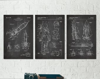 Outer Space Decor, Outer Space Wall Art, Outer Space Poster, NASA Poster, Rocket Ship, Aerospace Engineer Gift, Science Poster, Patent S037