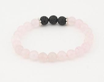 Diffuser bracelet Essential oil Lava bead bracelet Lava bead bracelet Aromatherapy mala lava rock stretch yoga beaded stacking pink quartz