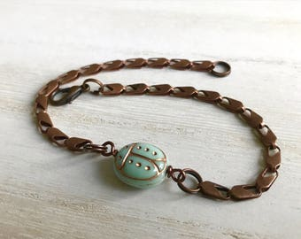Ladybug Bracelet, Ladybug Jewelry, Copper Bracelet, Ladybird Bracelet, Bug Jewelry, Ladybug Gifts, Ladybug Bangle, Aqua Jewelry, Insect Gift