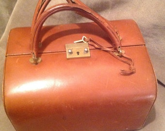 1930s / 40s RARE Leather Handbag / Purse  /  40s WW2  Leather double sided Bag / Doctors style bag