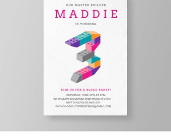Girls Birthday Lego Party | Printable Master Builder Birthday Invitation | Building Bricks | Editable Template | Instant Download #037GBD