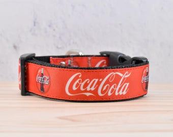 Coke Adjustable Dog Collar / logo / red / drink / coka-cola / melodys pet collars