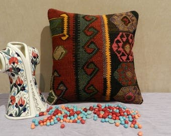 kilim pillow, turkish pillow,handmade pillow,decorative pillow,16x16inch,40x40cm