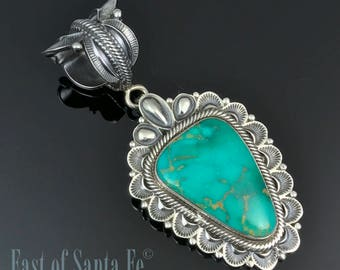 HUGE Turquoise Pendant Sterling Necklace Navajo Native American Signed - Rick Martinez