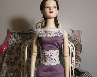 Handmade Doll Clothes, Purple Ruffled Dress, Fits 22 Inch Tonner American Model Dolls, Sale!!