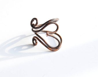 8th anniversary gift, boho Valentines gift,  unisex antique bronze wire heart ring, for him and her