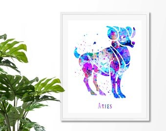 Aries #4 Watercolor  Astrology Art, Aries Print, Aries Sign ,Aries Zodiac, Aries Wall Art, Aries Poster, Gifts for Aries, Archival Art Print