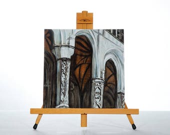 "Architecture Painting Art Acrylic Original // ""Commanding""  12x12"" Wooden board by Juliette Anne"