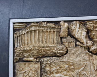 HISTORY OF GREECE in a Framed Wall Sculpture Hanging Greek Figurines in Relief