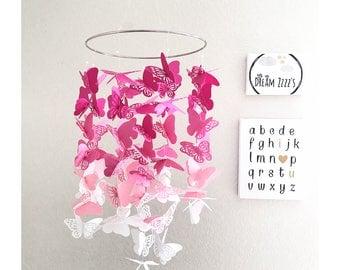Butterfly Baby Mobile - Butterfly Nursery - Butterfly Baby Shower - Girl Nursery Decor - Butterfly Decor - Butterfly Baby Mobile