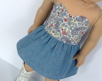 "18"" doll clothes, Strapless summer dress, Blue Paisley Chambray Denim Skirt, handmade to fit like american girl doll clothes"