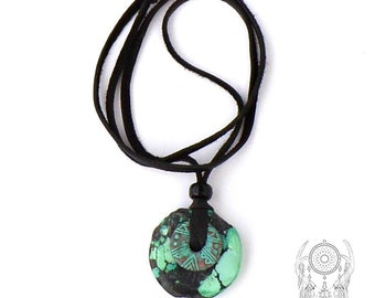 Real Turquoise Stone Donut / Stone Donut Necklace / Patina Copper Donut / Soft Black Leather / Handmade Tribal Necklace / 26 Inches Long