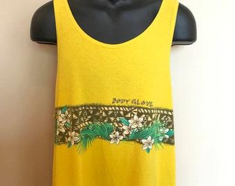 90s Body Glove Tank Top Vintage Cutoff Shirt Gym Beach Tee Tropical Surfing Skateboard Hawaii Northshore Big Wave Kona Hibiscus Flower XL