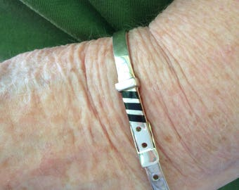 Sterling Silver and Onyx Adjustable Buckle Bracelet