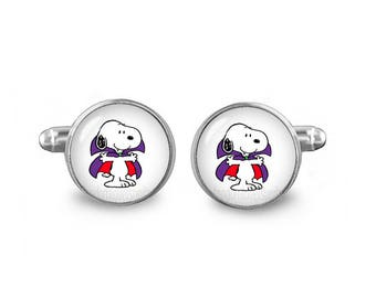 Snoopy Cuff Links Snoopy Dracula Cufflinks 16mm Cufflinks Gift for Men Groomsmen Novelty Cuff links Fandom Jewelry