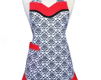Womens Ruffled Apron Flirty Flounce Black and White Damask and Red Polka Dots Retro Style Kitchen Chef Ruffled Cooking Apron - Pockets