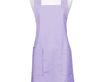 Japanese Linen  Crossback Apron Orchid Womens Retro Crossover Pinafore Vintage Style Kitchen Apron with Pockets
