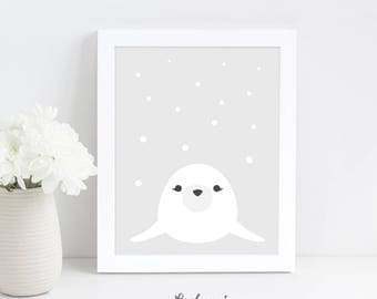 Seal Nursery Wall Art, Nursery Printable Art, Grey Nursery Decor, Animal Wall Art, Baby Shower Gift, Nursery Wall Decor, Digital Download