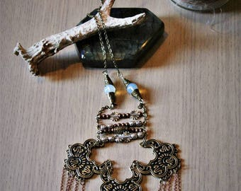 """""""Time"""" Opalites and snow Obsidian necklace"""