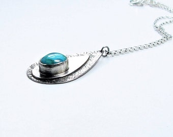 Turquoise pendant, December birthstone, turquoise and silver pendant, handcrafted turquoise pendant, celtic pendant, blue pendant,