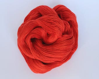 Silk lace yarn - poppy red - hand dyed by Rouge Bobine