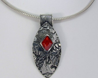"Item 6091 - ""Butterfly at Sunset"" Handcrafted & sculpted 999 Fine and Sterling Silver set with Triangle ""Fire Opal"" CZ"