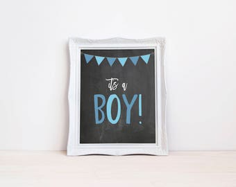 "Its A Boy Gender Reveal Announcement Sign || 8""x10"" Printable Chalkboard Pregnancy Announcement, Maternity Photo Prop (DIGITAL PRODUCT)"