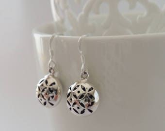 Sterling Silver Earrings with Oriental Look Esther, Dangle Earrings, Round Earrings, Oriental Earrings, Gift Idea, Gift for Her