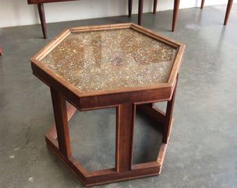 Brown Saltman Hexagon End Table