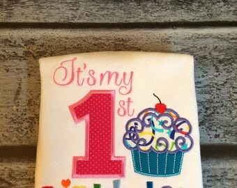 Embroidered First Birthday Shirt, First Birthday Boy, First Birthday Girl, Rainbow birthday shirt,
